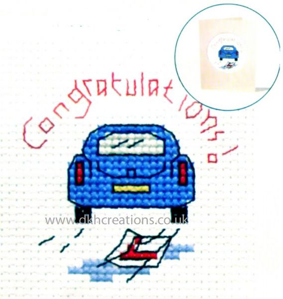 Driving Test Congratulations Card Cross Stitch Kit